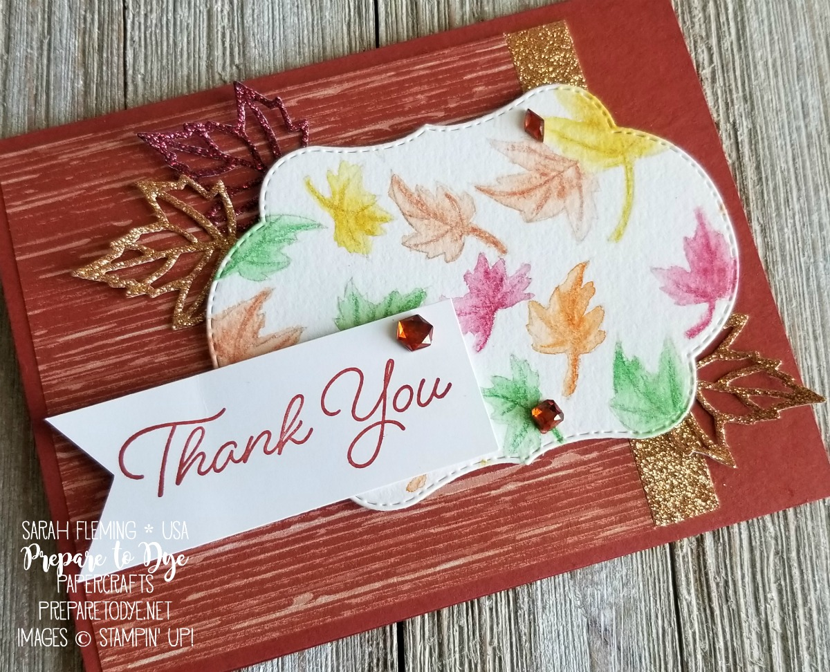 Stampin' Up! Blended Seasons with Stitched Seasons framelits and Watercolor Pencils, Joyous Noel Glimmer Paper, Nature's Poem paper - last two days - Sarah Fleming - Prepare to Dye Papercrafts