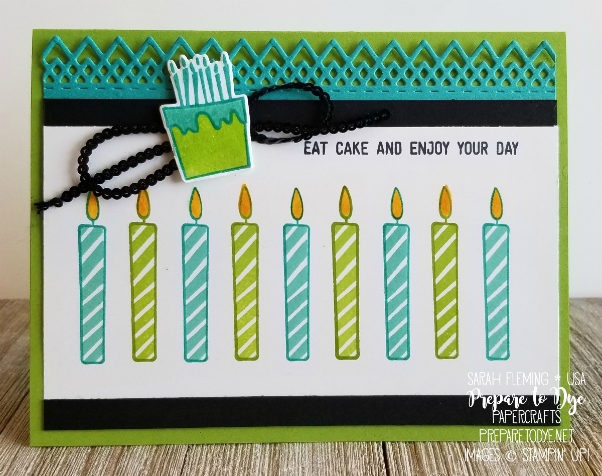 Stampin' Up! handmade birthday card using Blow Out the Candles bundle with Candles & Confetti framelits dies, Stamparatus stamp positioning tool for layering multi-step stamps, Delicate Lace edgelits dies - Sarah Fleming - Prepare to Dye Papercrafts
