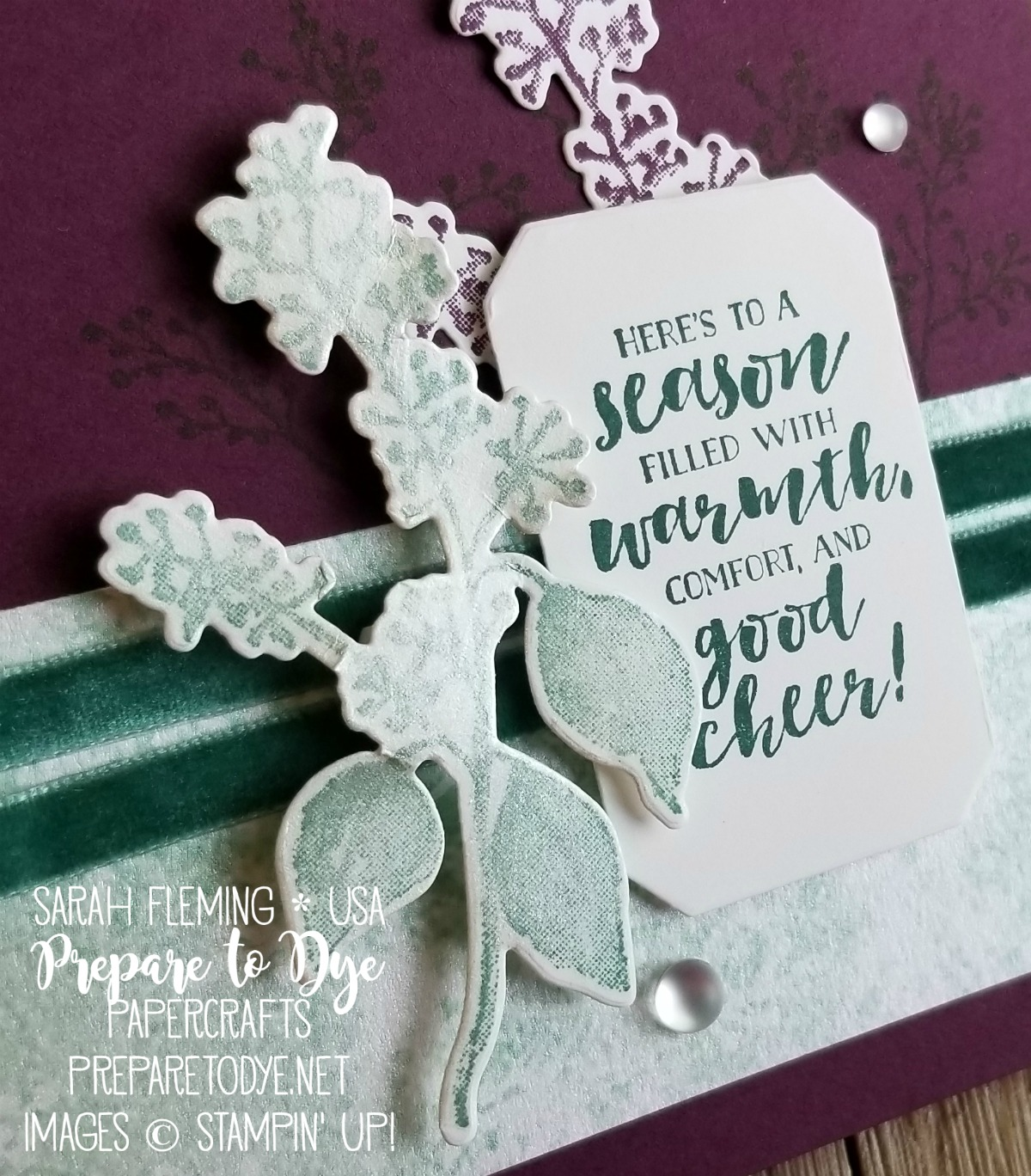 Stampin' Up! 2018 Holiday Catalog Sneak Peek - handmade holiday Christmas card using the Frosted Floral Suite - First Frost bundle with Frosted Bouquet framelits - Sarah Fleming - Prepare to Dye Papercrafts