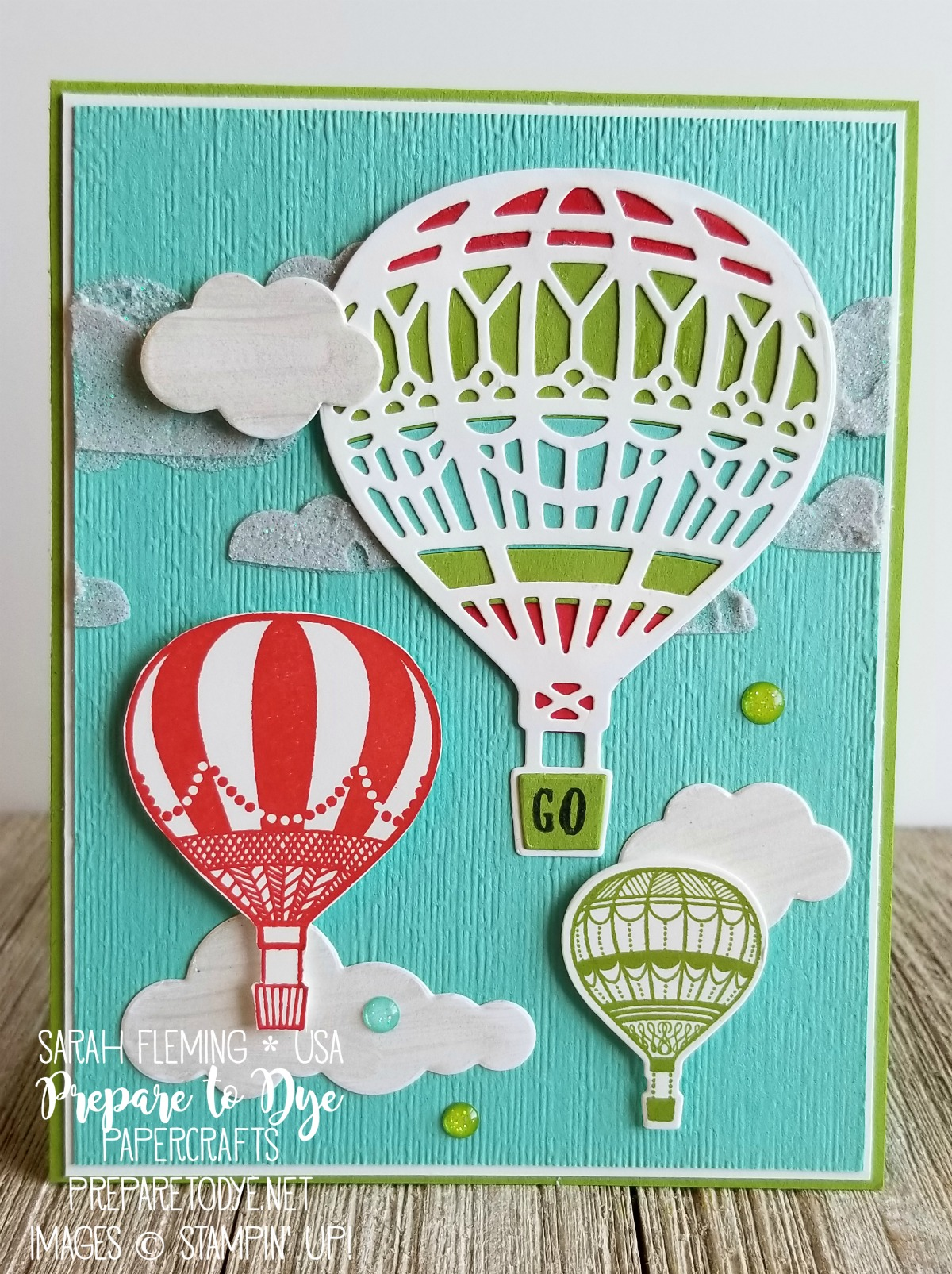 Stampin' Up! Lift Me Up stamps with Up & Away thinlits dies, Shimmery White embossing paste, Frost White Shimmer Paint, Subtle dynamic embossing folder - handmade travel card - Sarah Fleming - Prepare to Dye Papercrafts