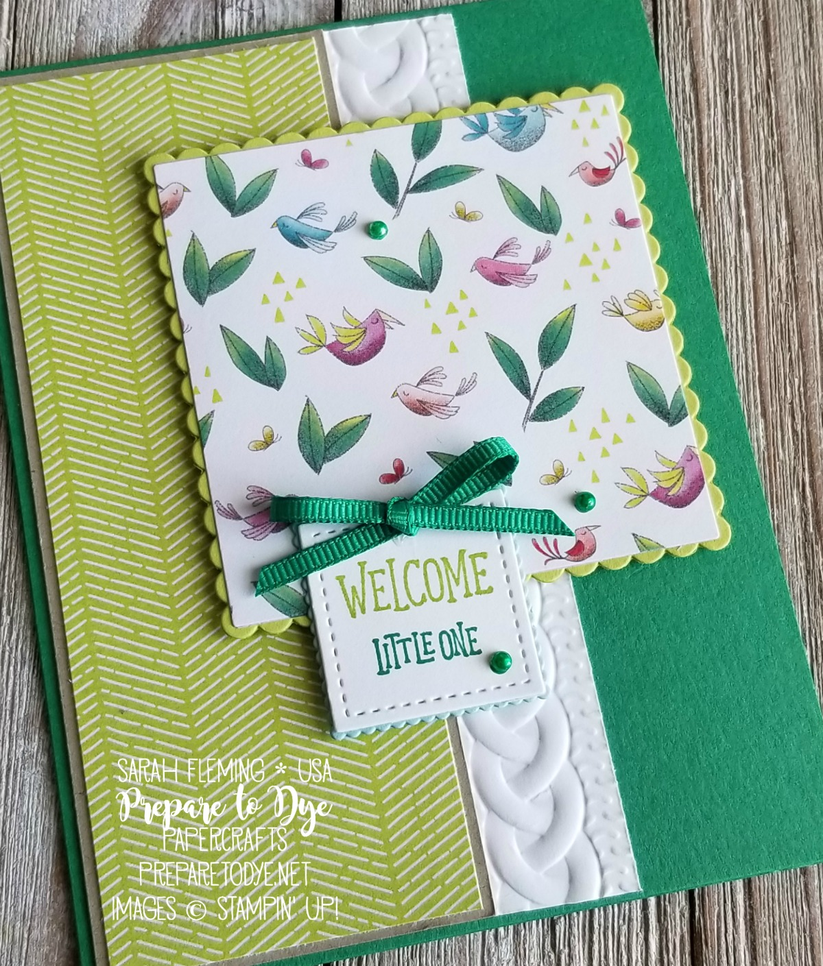 Stampin' Up! Animal Outing handmade baby card with Animal Expedition paper, Cable Knit embossing folder - Sarah Fleming - Prepare to Dye Papercrafts
