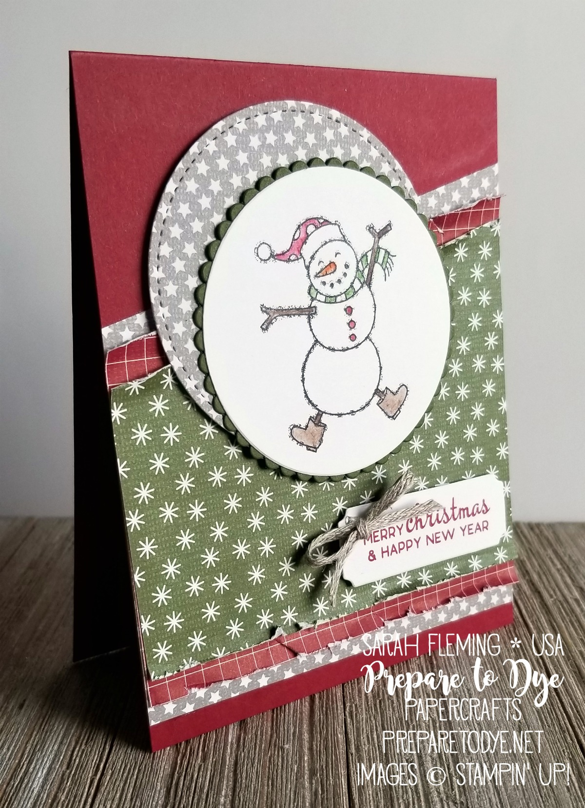 Stampin' Up! Spirited Snowmen with Beautiful Baubles sentiment and Festive Farmhouse paper - handmade vintage Christmas card - Sarah Fleming - Prepare to Dye Papercrafts