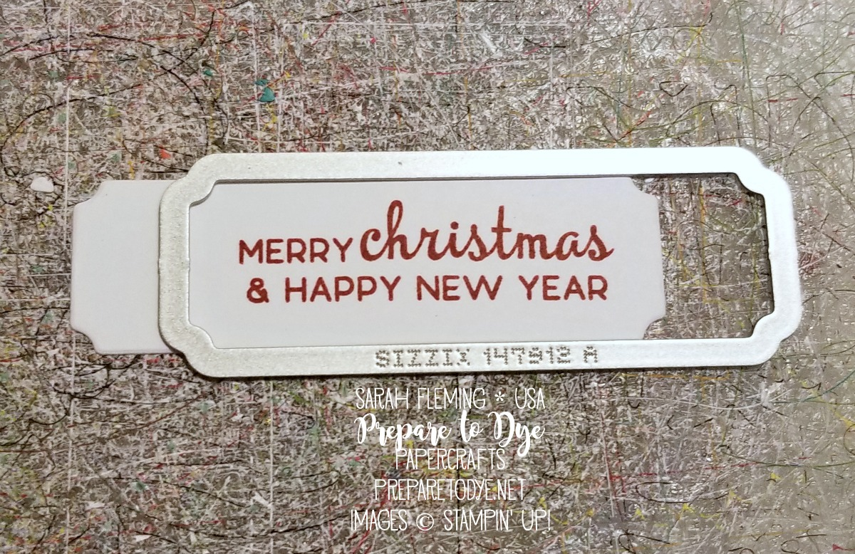 Stampin' Up! stretch your dies - make a smaller die cut from the Merry Christmas to All label die - Sarah Fleming - Prepare to Dye Papercrafts