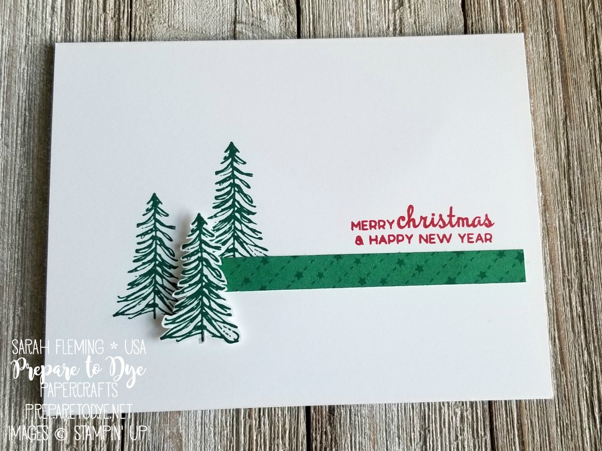 Stampin' Up! clean-and-simple CAS handmade Christmas card using Timeless Tidings and Beautiful Baubles with All Is Bright paper - Sarah Fleming - Prepare to Dye Papercrafts