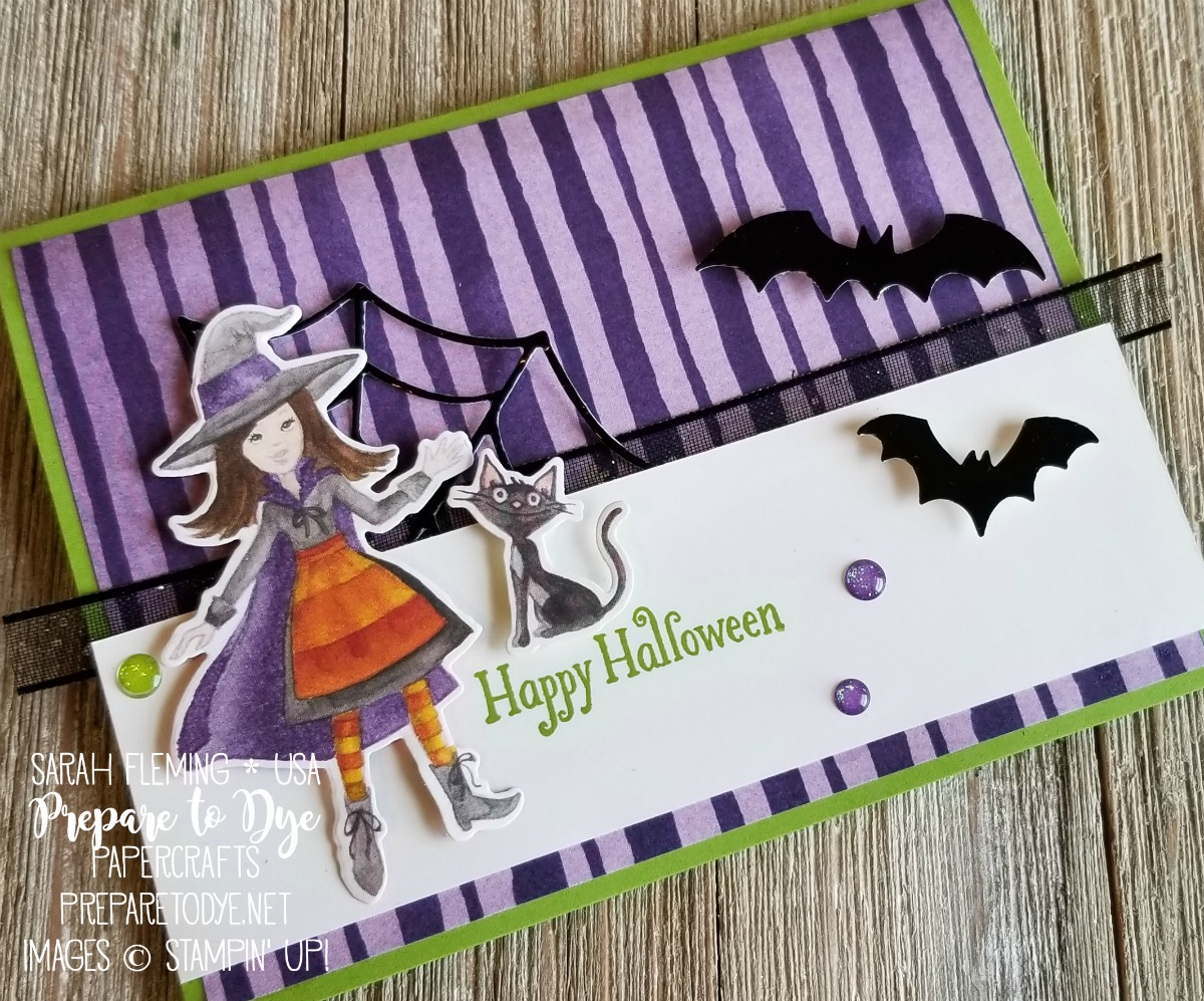 Stampin' Up! 2018 Holiday Catalog sneak peeks - live unboxing video and live crafting making a spooky fun Halloween card - Toil & Trouble designer series paper, Cauldron Bubble bundle with Cauldron framelits, Spooky Bats punch - Sarah Fleming - Prepare to Dye Papercrafts