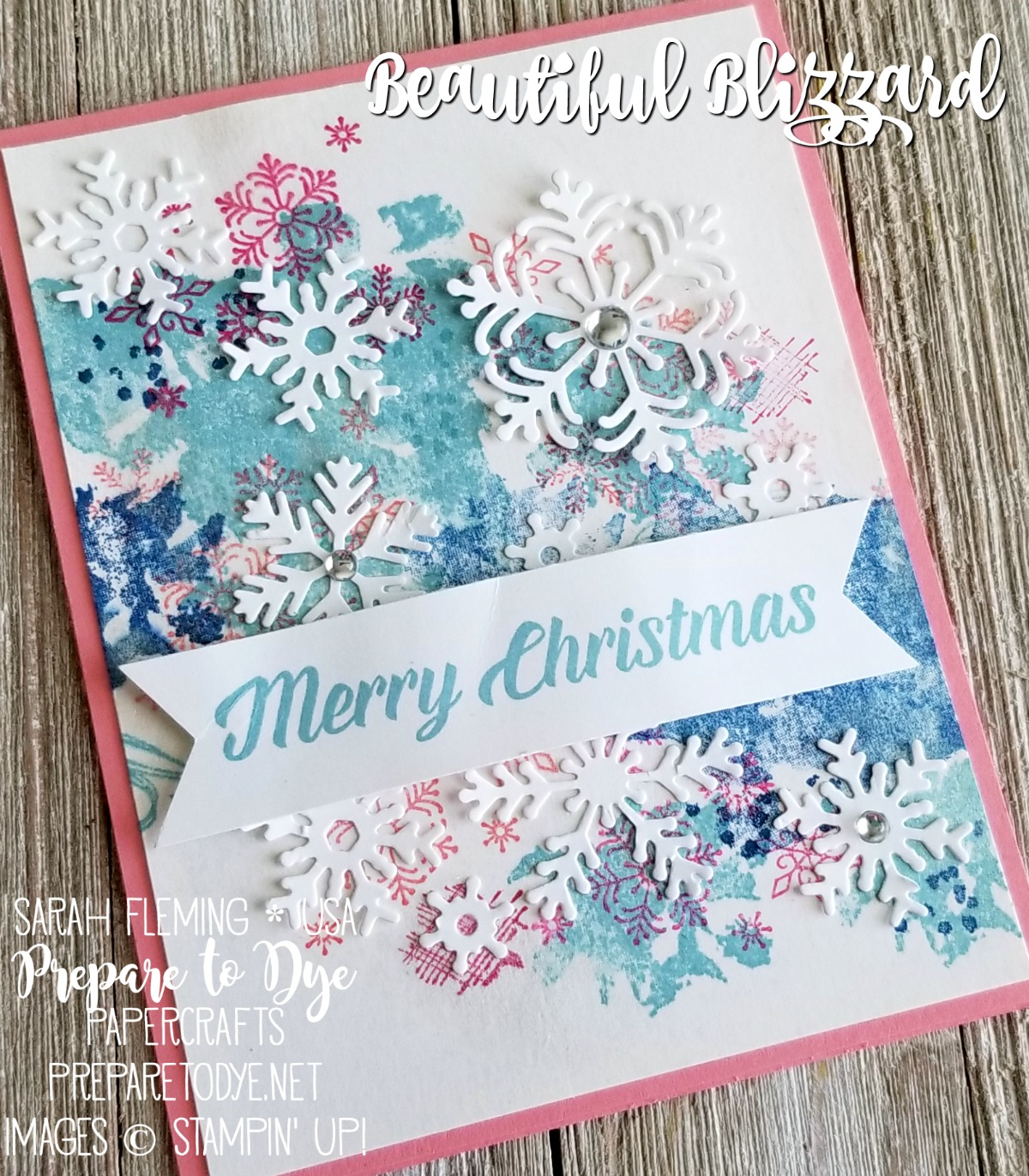 Stampin' Up! Beautiful Blizzard bundle with Blizzard Thinlits die, Timeless Tidings stamp set - handmade whimsical Christmas holiday card - Holiday Catalog sneak peek - Sarah Fleming - Prepare to Dye Papercrafts - #sdbh