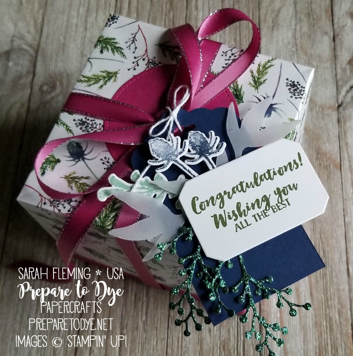 Stampin' Up! handmade wedding gift tag using First Frost bundle with Frosted Bouquet Framelits dies, Joyous Noel Glimmer Paper, and Scalloped Tag Topper Punch - Sarah Fleming - Prepare to Dye Papercrafts