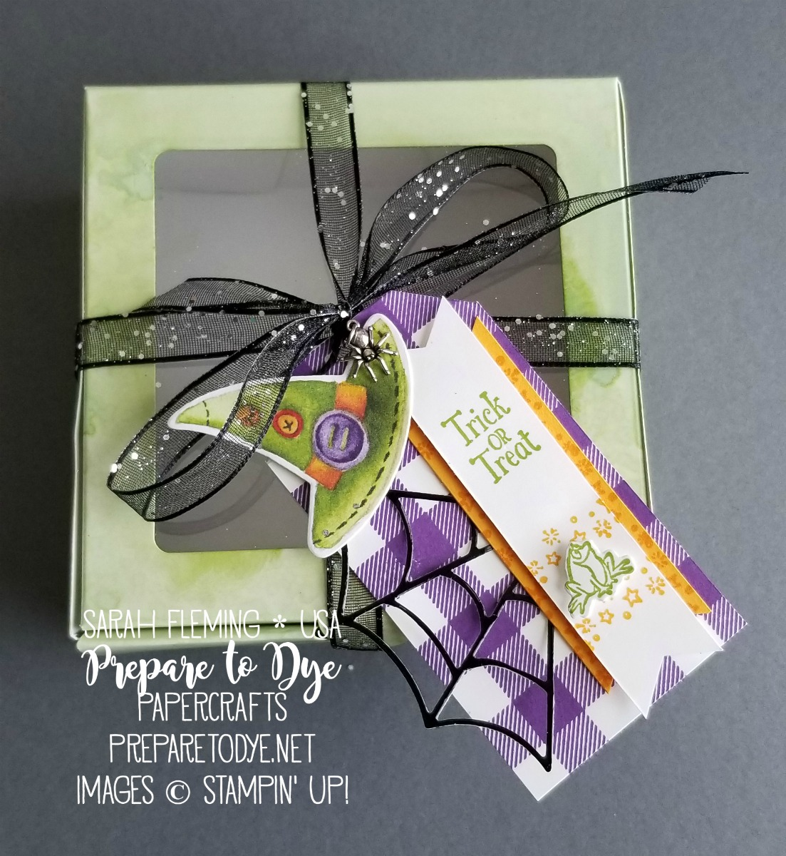 Stampin' Up! Halloween baker's box with handmade tag using Toil & Trouble paper, Cauldron Bubble bundle, Cauldron framelits, Glittered Organdy Ribbon, Buffalo Check Background Stamp, Spider Trinkets - Sarah Fleming - Prepare to Dye Papercrafts