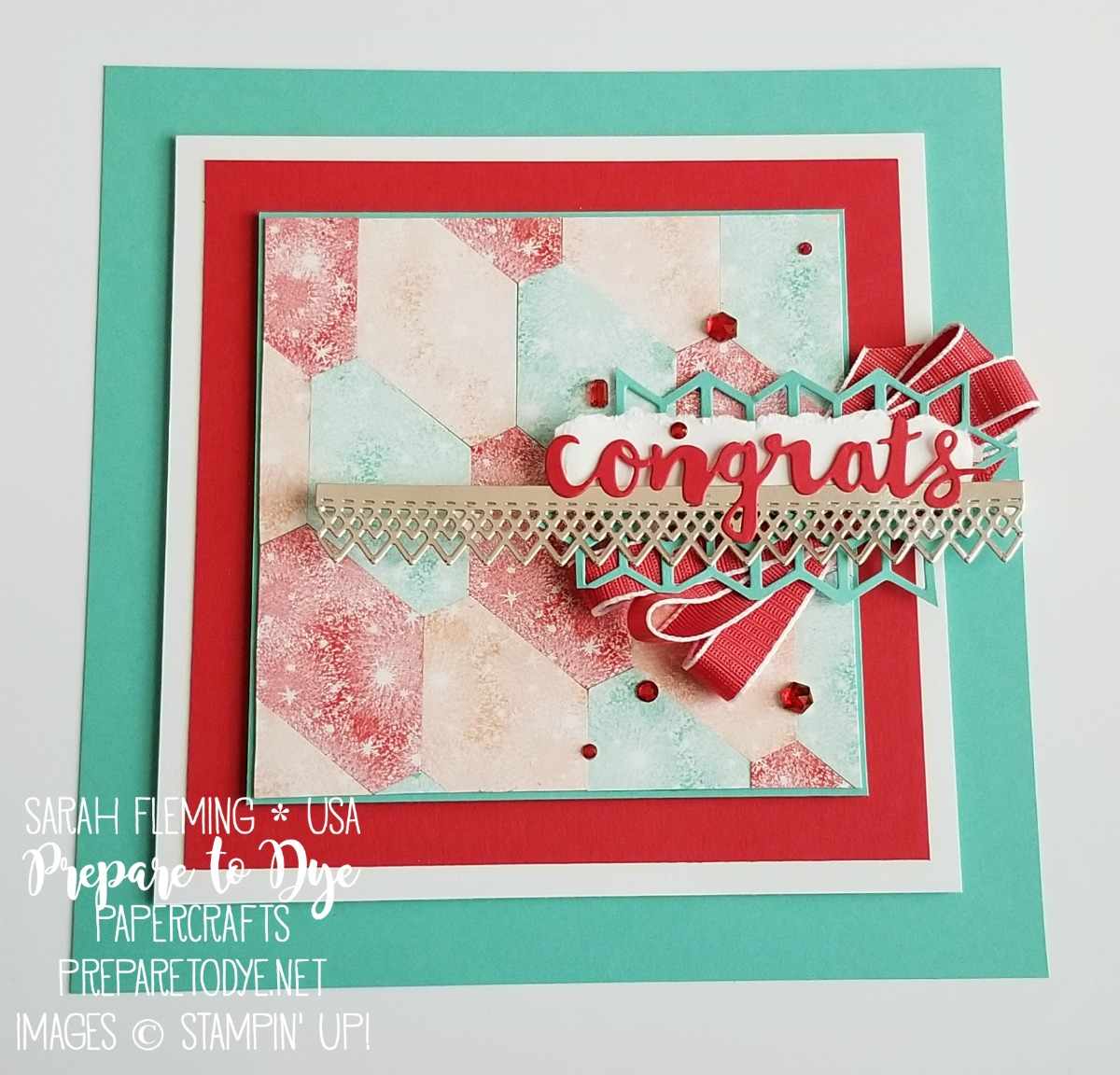"Stampin' Up! home decor congratulations 8""x8"" piece using Bokeh Dots, Detailed Lace Edgelits, Eclectic Layers thinlits, Sunshine Wishes thinlits, Tailored Tag Punch - Sarah Fleming - Prepare to Dye Papercrafts"