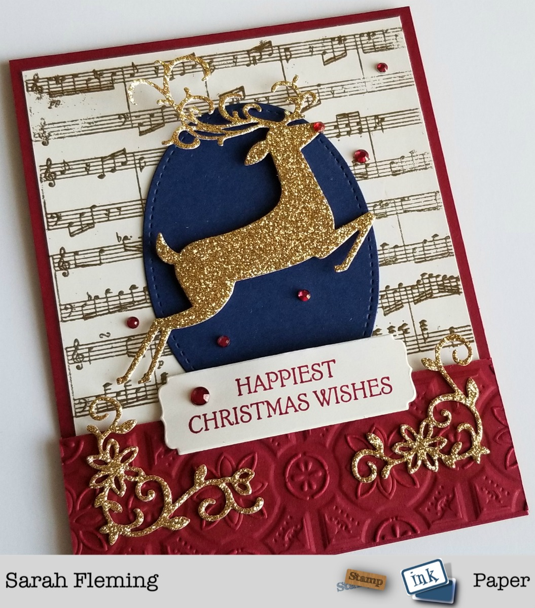 Stampin' Up! handmade Christmas card featuring heat embossing and Dashing Deer bundle with Detailed Deer thinlits, Sheet Music background stamp, Tin Tile Dynamic embossing folder, Night Owl Thinlits - Sarah Fleming - Prepare to Dye Papercrafts