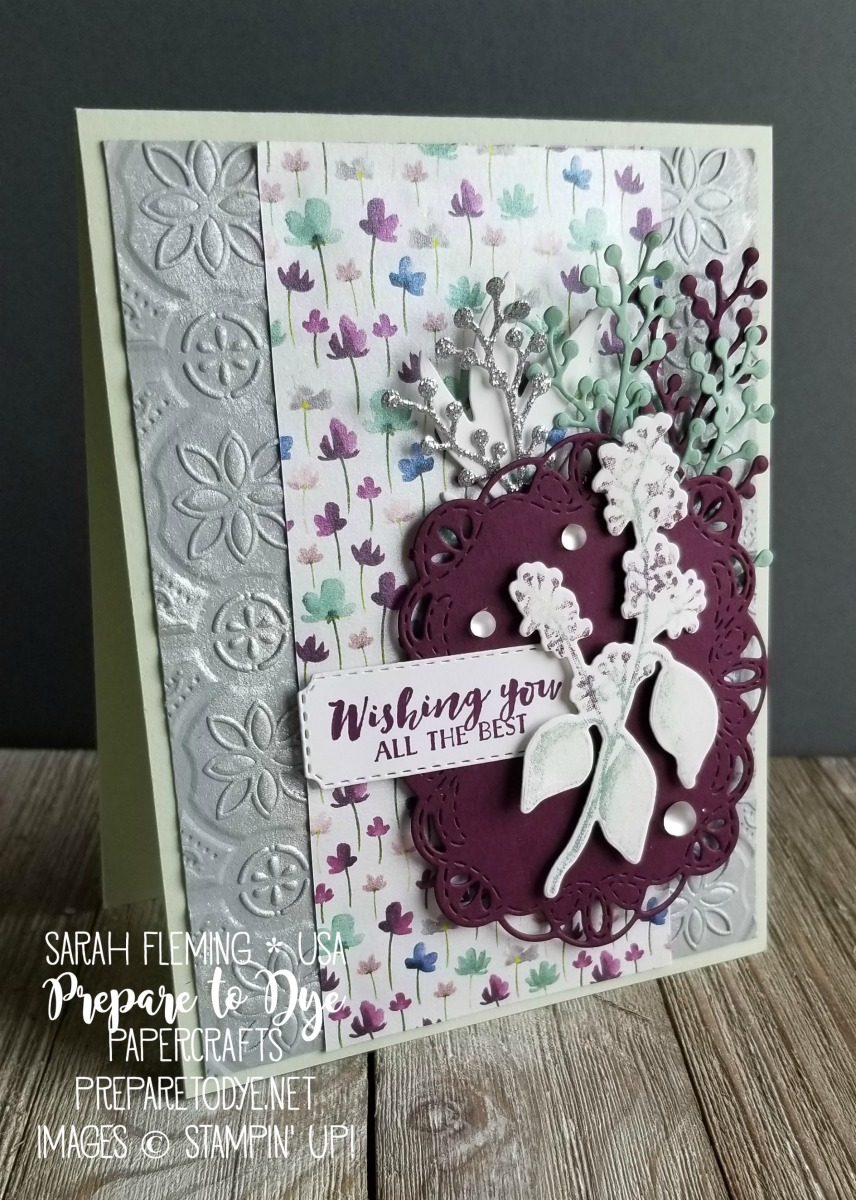 Stampin' Up! handmade wedding or best wishes card using First Frost bundle with Frosted Bouquet framelits, ink layering with Stamparatus and Stampin' Write Markers, Frosted Floral paper, Tin Tile Embossing Folder, Frost White Shimmer Paint, Stitched Labels framelits, Farmhouse Framelits - Sarah Fleming - Prepare to Dye Papercrafts