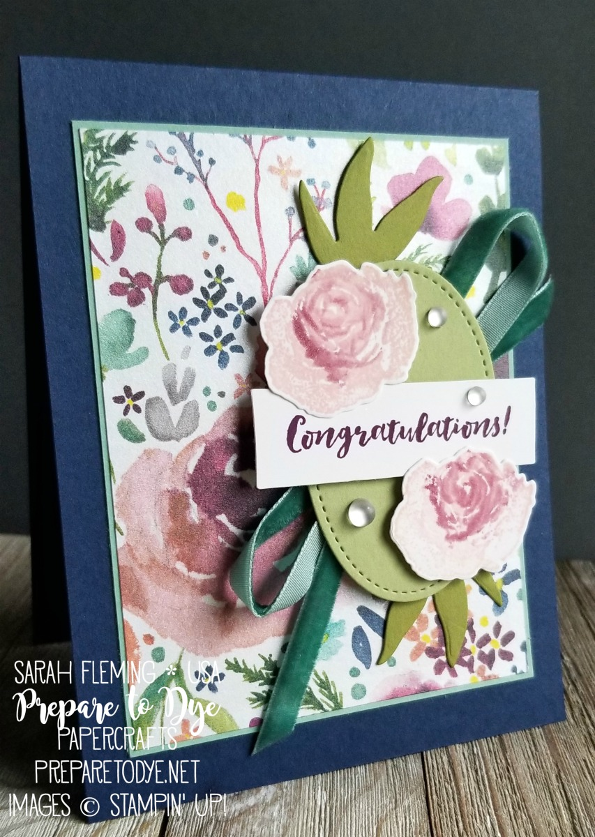 Stampin' Up! handmade wedding & congratulations card using First Frost Bundle with Frosted Bouquet framelits, Frosted Floral paper, Stitched Shapes framelits, Tranquil Tide Velvet Ribbon - VIDEO TUTORIAL - Sarah Fleming - Prepare to Dye Papercrafts