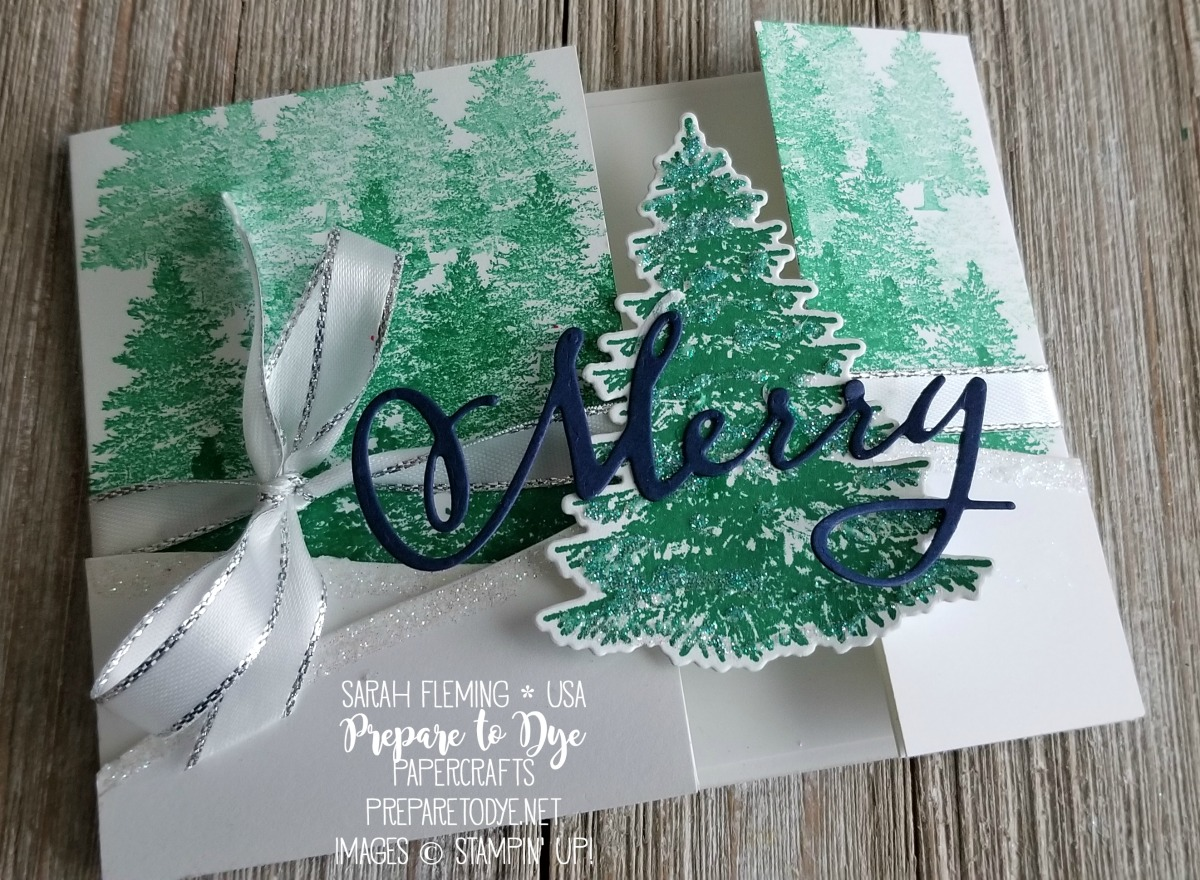 Stampin' Up! Winter Woods bundle with In the Woods thinlits, Merry Christmas to All bundle with Merry Christmas thinlits, Rooted in Nature - handmade fun fold Christmas card - Sarah Fleming - Prepare to Dye Papercrafts