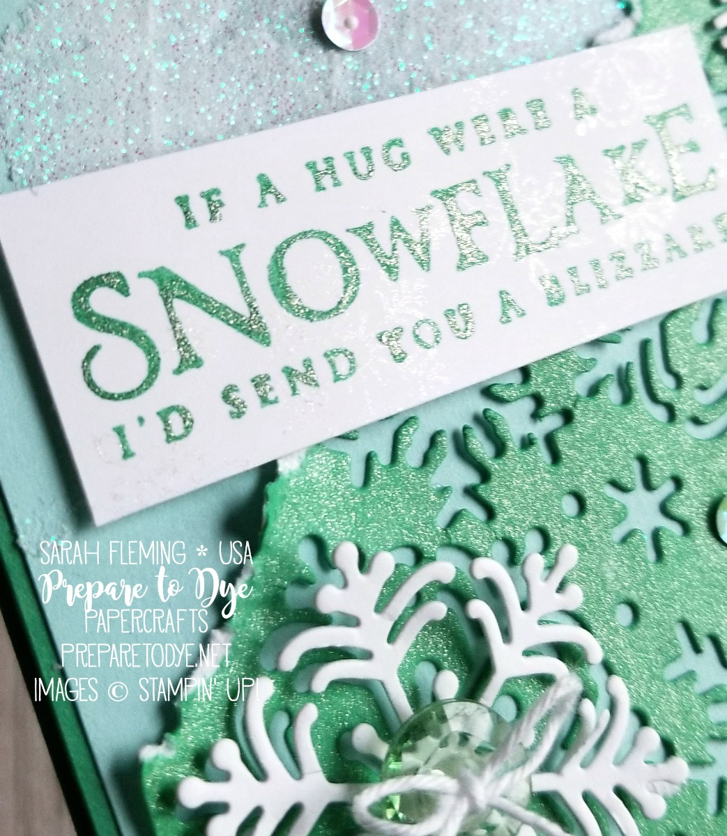 Stampin' Up! Beautiful Blizzard bundle with Blizzard thinlits die, Champagne Mist Shimmer Paint, Shimmery White Embossing Paste, Tinted Faceted Buttons, Iridescent Sequins - Sarah Fleming - Prepare to Dye Papercrafts