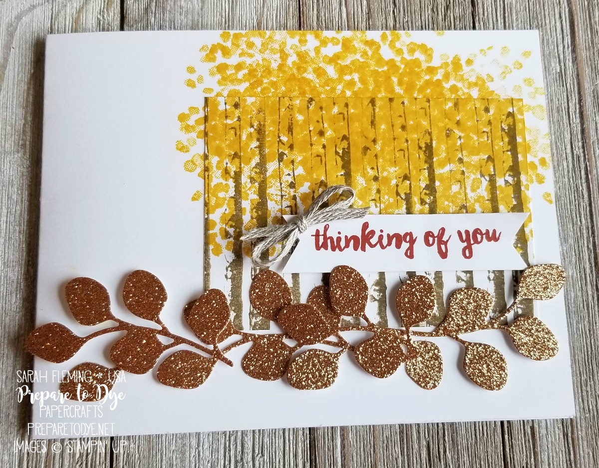 Stampin' Up! handmade fall autumn card using Winter Woods bundle with In the Woods framelits, Sheltering Tree, Paper Pumpkin sentiment, and Joyous Noel Glimmer Paper - Sarah Fleming - Prepare to Dye Papercrafts - #GDP154
