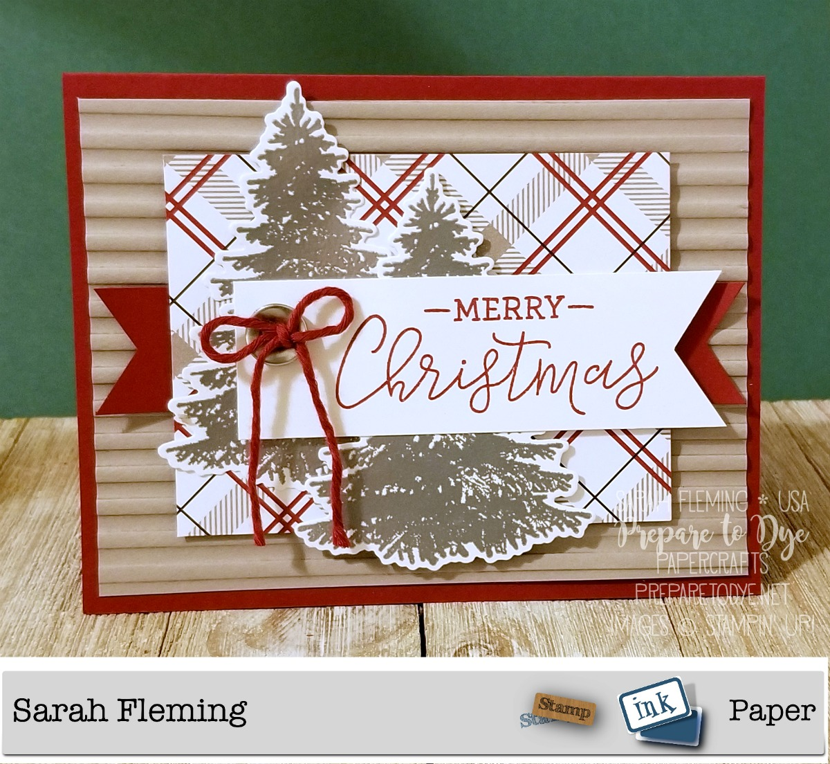 Stampin' Up! handmade Christmas card using Winter Woods bundle with In the Woods framelits, Warm Hearted Host stamp set, Festive Farmhouse paper, Corrugated dynamic embossing folder - Sarah Fleming - Prepare to Dye Papercrafts - Stamp, Ink, Paper Challenge 168