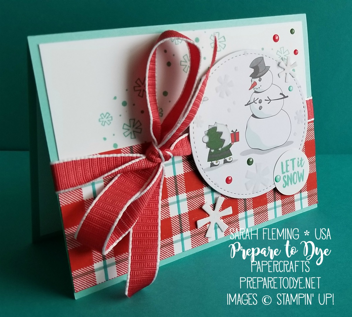 Stampin' Up! handmade Christmas card using Buffalo Check, Alpine Adventures, Candy Cane Season, Santa's Workshop paper, Santa's Signpost framelits, Stitched Shapes framelits, Santa's Workshop Enamel Shapes - Sarah Fleming - Prepare to Dye Papercrafts