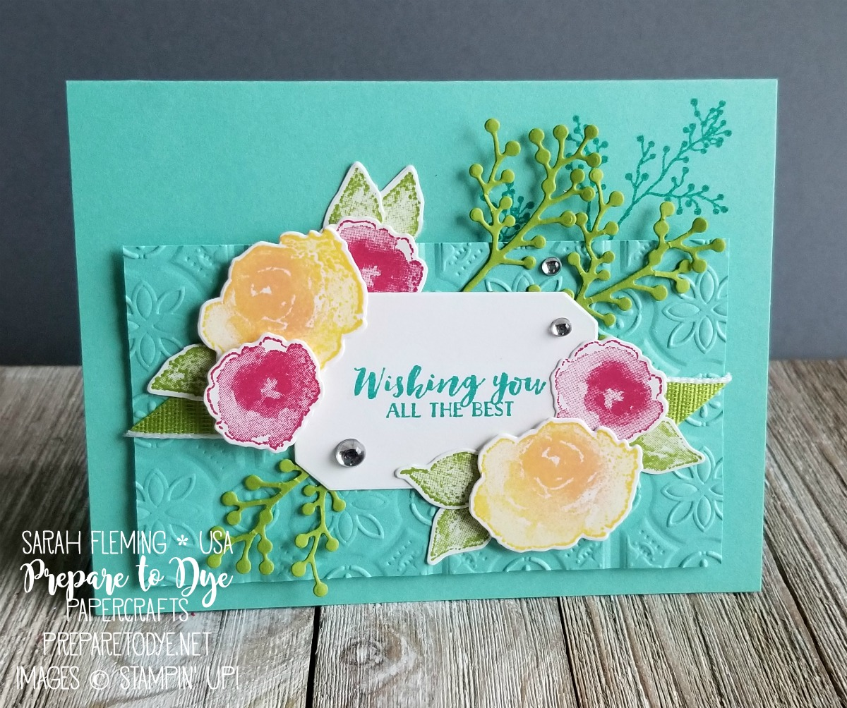 Stampin' Up! First Frost bundle with Frosted Bouquet framelits, Tin Tile Dynamic embossing folder - Sarah Fleming - Prepare to Dye Papercrafts