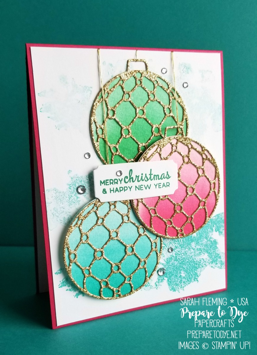 Stampin' Up! handmade Christmas holiday card using Beautiful Baubles bundle with Detailed Baubles thinlits, Beautiful Blizzard stamps - ombre watercolor ornaments - VIDEO TUTORIAL - Sarah Fleming - Prepare to Dye Papercrafts