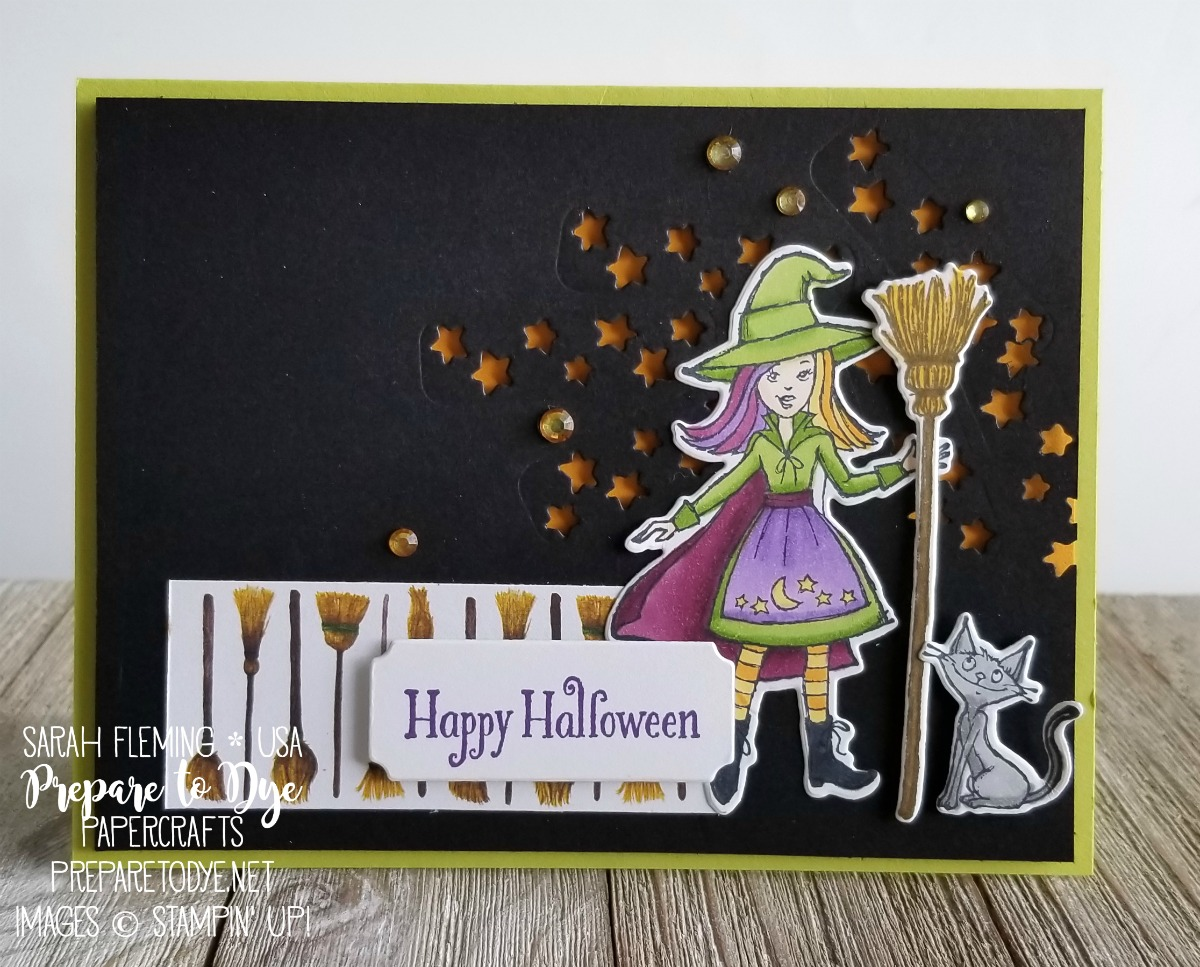 Stampin' Up! handmade Halloween card using Cauldron Bubble bundle with Cauldron Framelits, Toil & Trouble paper - Sarah Fleming - Prepare to Dye Papercrafts