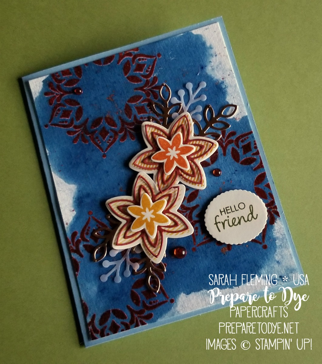 Stampin' Up! handmade autumn fall card using Happiness Surrounds limited time stamp set and limited time Snowfall thinlits dies with Alpine Sports thinlits dies and Brusho - Sarah Fleming - Prepare to Dye Papercrafts