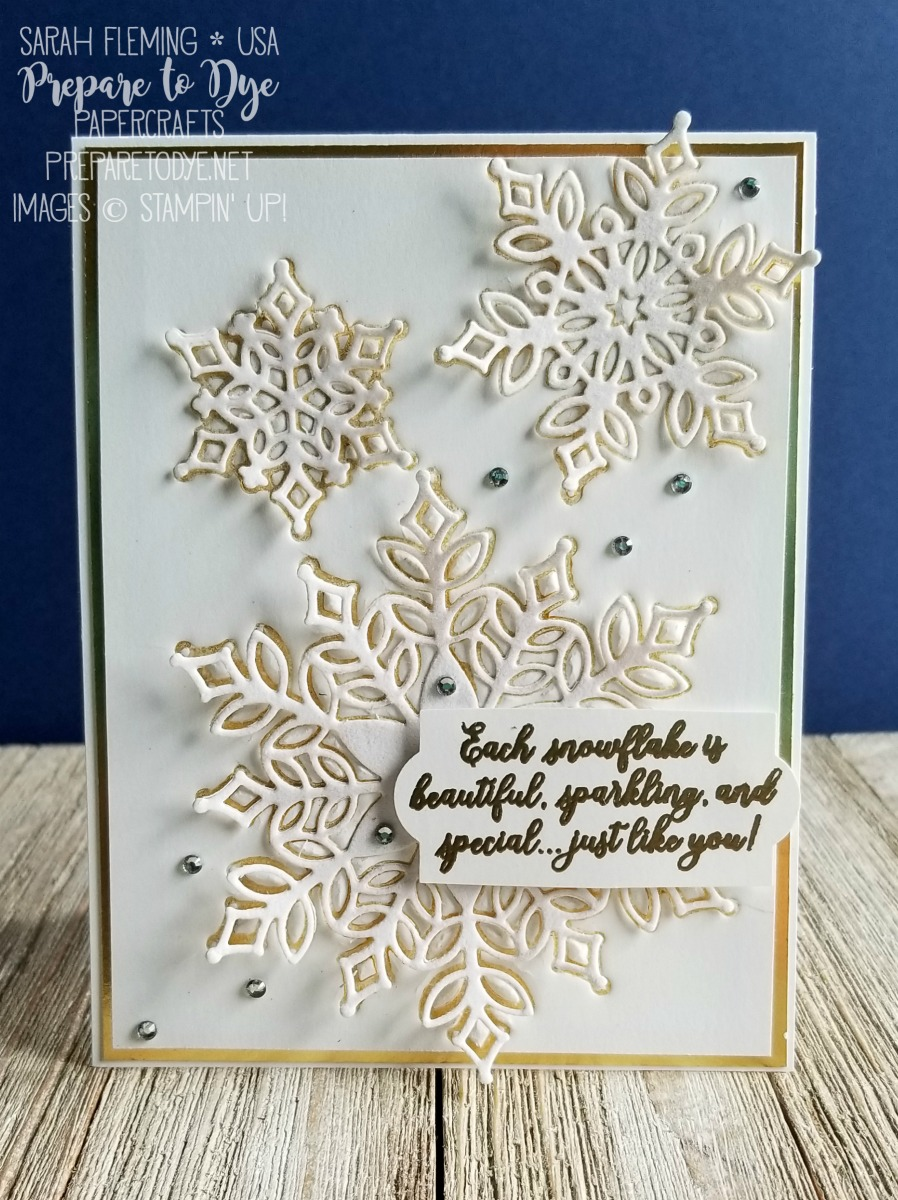 Stampin' Up! Snowflake Showcase limited-time promotion - available Nov 1, or join my team to add it to your Starter Kit - Snow Is Glistening stamps with Snowfall Thinlits dies - Sarah Fleming - Prepare to Dye Papercrafts