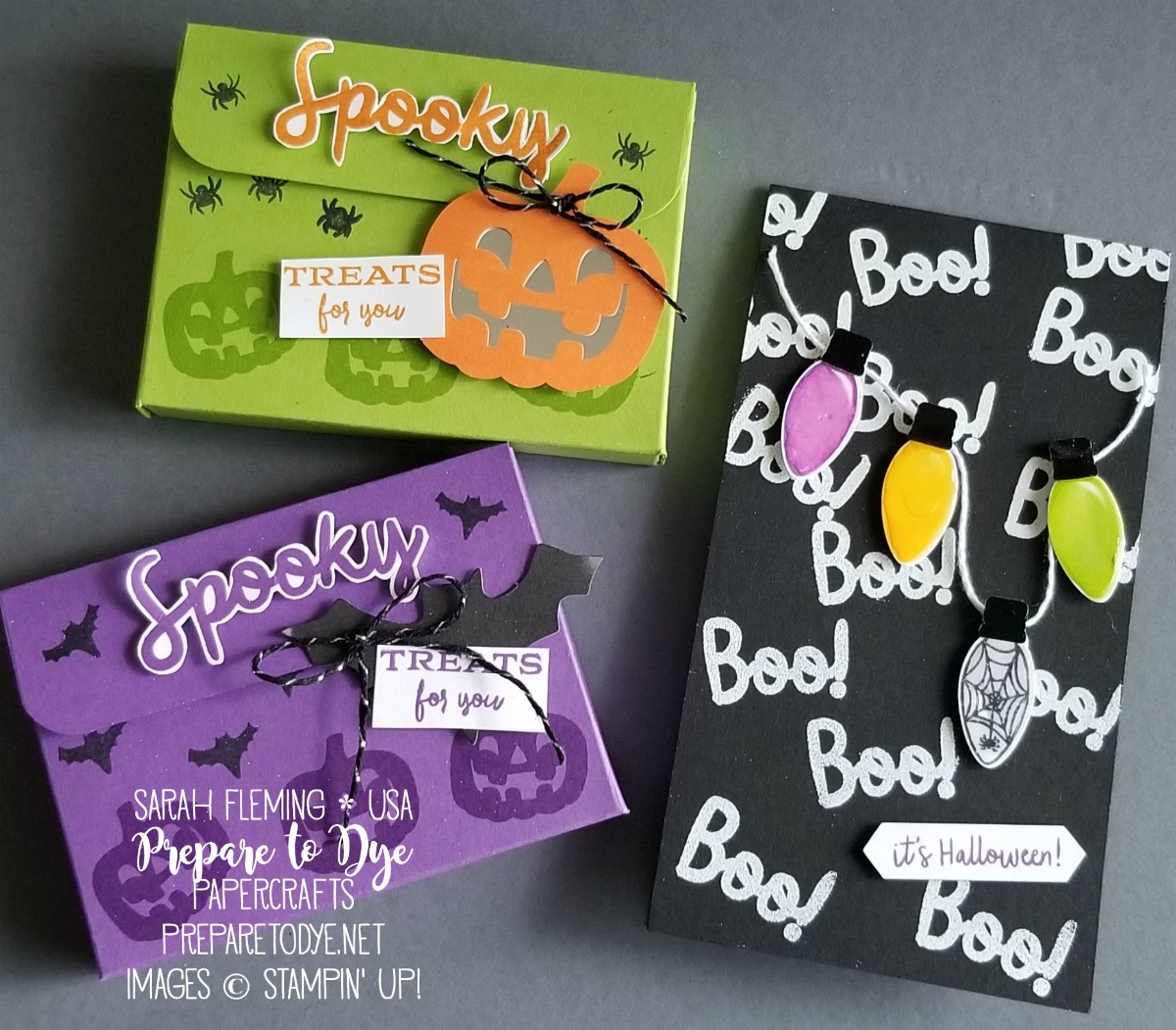 Stampin' Up! September 2018 Paper Pumpkin alternative projects - spooky treat box for Ice Cubes gum and skinny card - with Making Every Day Bright stamps and Christmas Bulb Builder Punch - VIDEO TUTORIAL - Sarah Fleming - Prepare to Dye Papercrafts