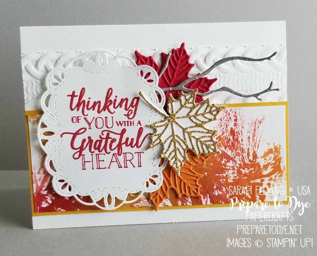Stampin' Up! handmade fall autumn thank you card using Seasonal Layers thinlits, Stitched Labels framelits, Falling For Leaves stamps with ink smooshing with shimmer paint - 3rd Thursdays Blog Hop - Sarah Fleming - Prepare to Dye Papercrafts