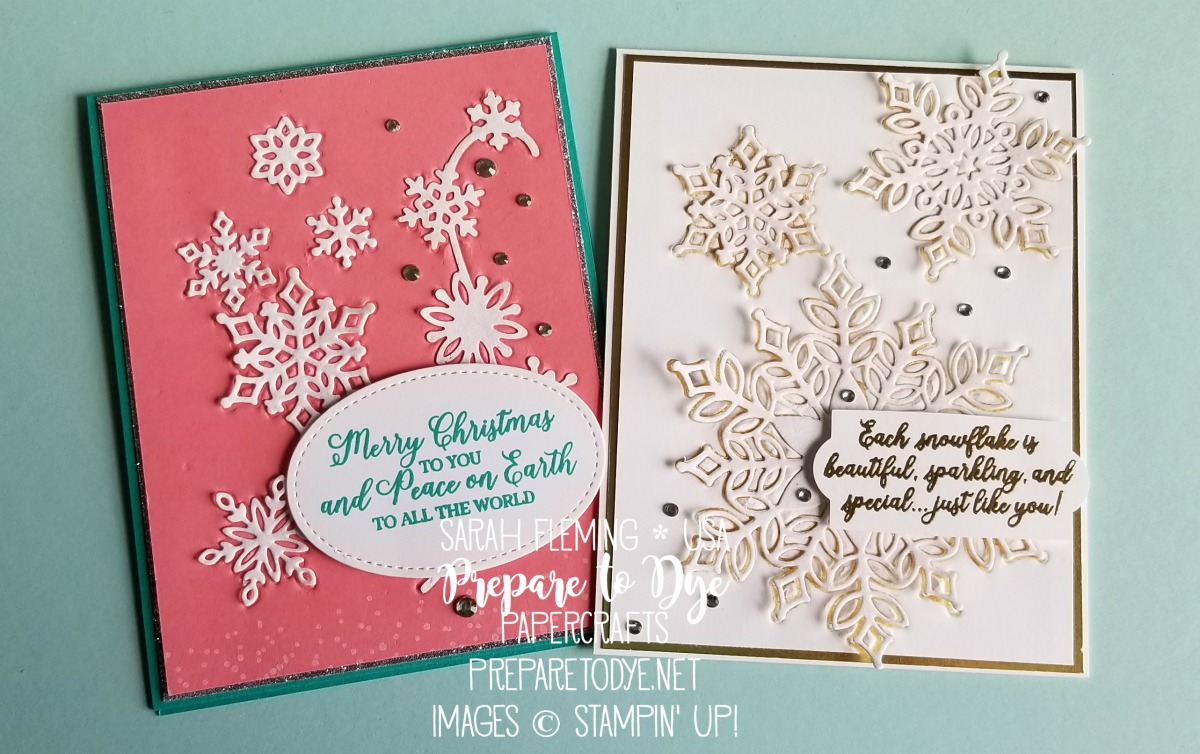 Stampin' Up! handmade winter birthday and Christmas cards using Snowfall thinlits and Snow is Glistening stamp set - VIDEO TUTORIAL with Reverse Die Impressions technique - Sarah Fleming - Prepare to Dye Papercrafts