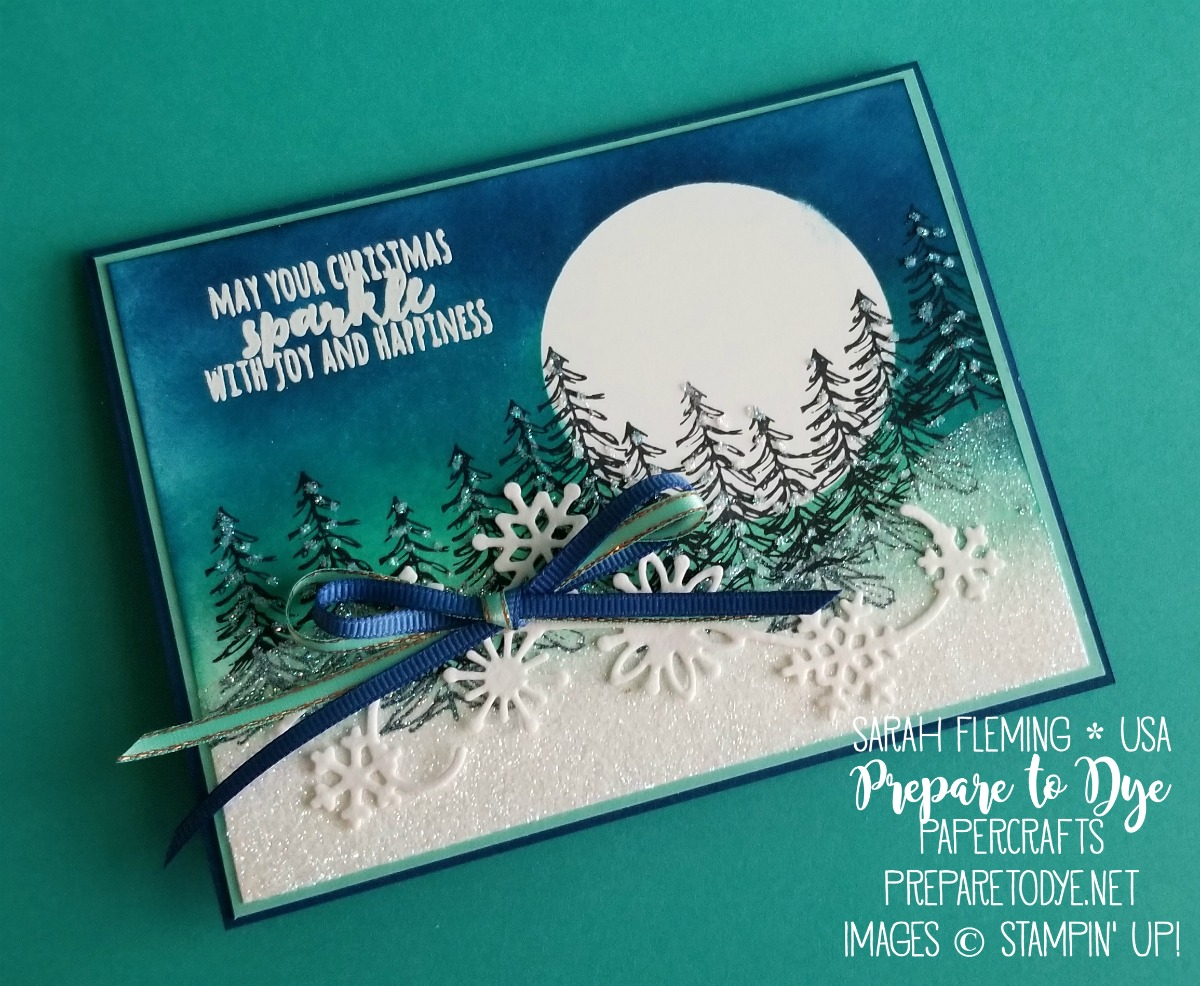 Stampin' Up! handmade Christmas card using Timeless Tidings, sponging a sponged night sky background, masking, Snowfall thinlits, Christmas Pines, multipurpose adhesive sheets - Sarah Fleming - Prepare to Dye Papercrafts