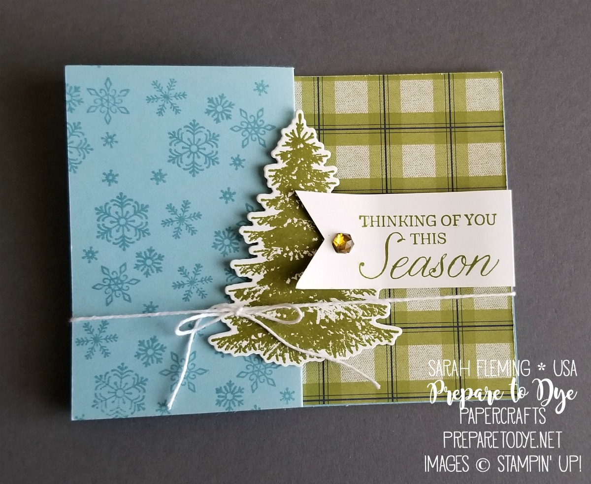 Stampin' Up! handmade Christmas card with Winter Woods bundle, In the Woods framelits, Beautiful Blizzard, Under the Mistletoe paper - VIDEO TUTORIAL - Sarah Fleming - Prepare to Dye Papercrafts