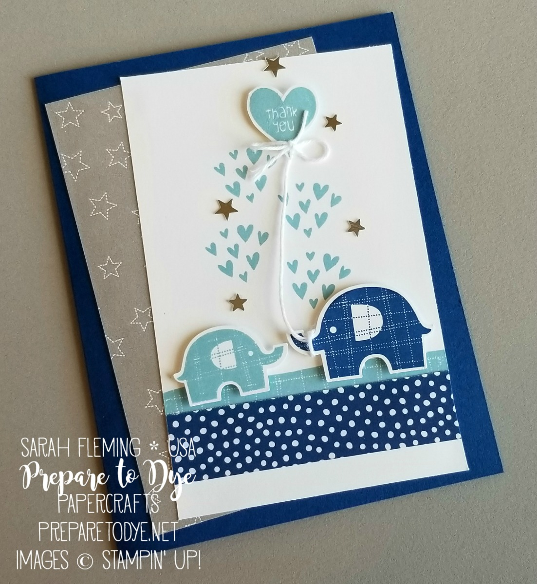 Stampin' Up! handmade baby boy thank you card using Baby Elephant stamps and Elephant Builder Punch - Sarah Fleming - Prepare to Dye Papercrafts
