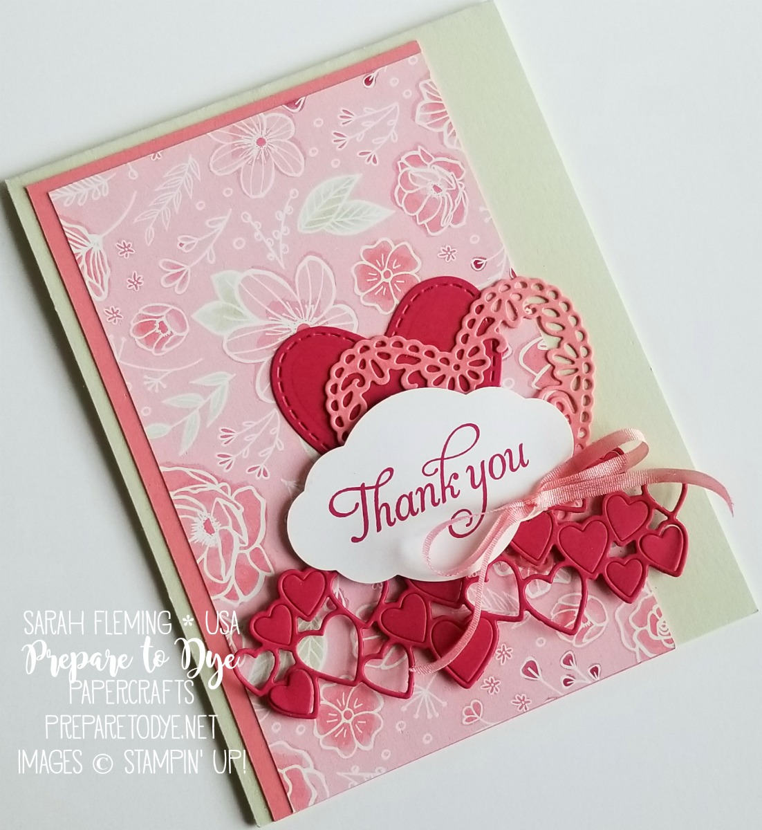 Stampin' Up! handmade thank you card with All My Love paper, Be Mine Stitched framelits dies, Humming Along cling stamp set, Pretty Label punch, All My Love Ribbon - 2019 Occasions Catalog Sneak Peeks - Sarah Fleming - Prepare to Dye Papercrafts
