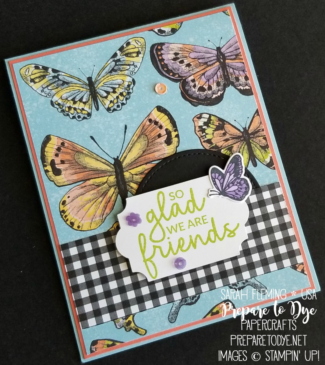 Stampin' Up! handmade friendship card using SNEAK PEEK OCCASIONS CATALOG AND SALE-A-BRATION PRODUCTS - Beauty Abounts bundle with Butterfly Beauty thinlits, Botanical Butterflies Sale-A-Bration freebie paper - Gingham Gala sequins - Sarah Fleming - Prepare to Dye Papercrafts