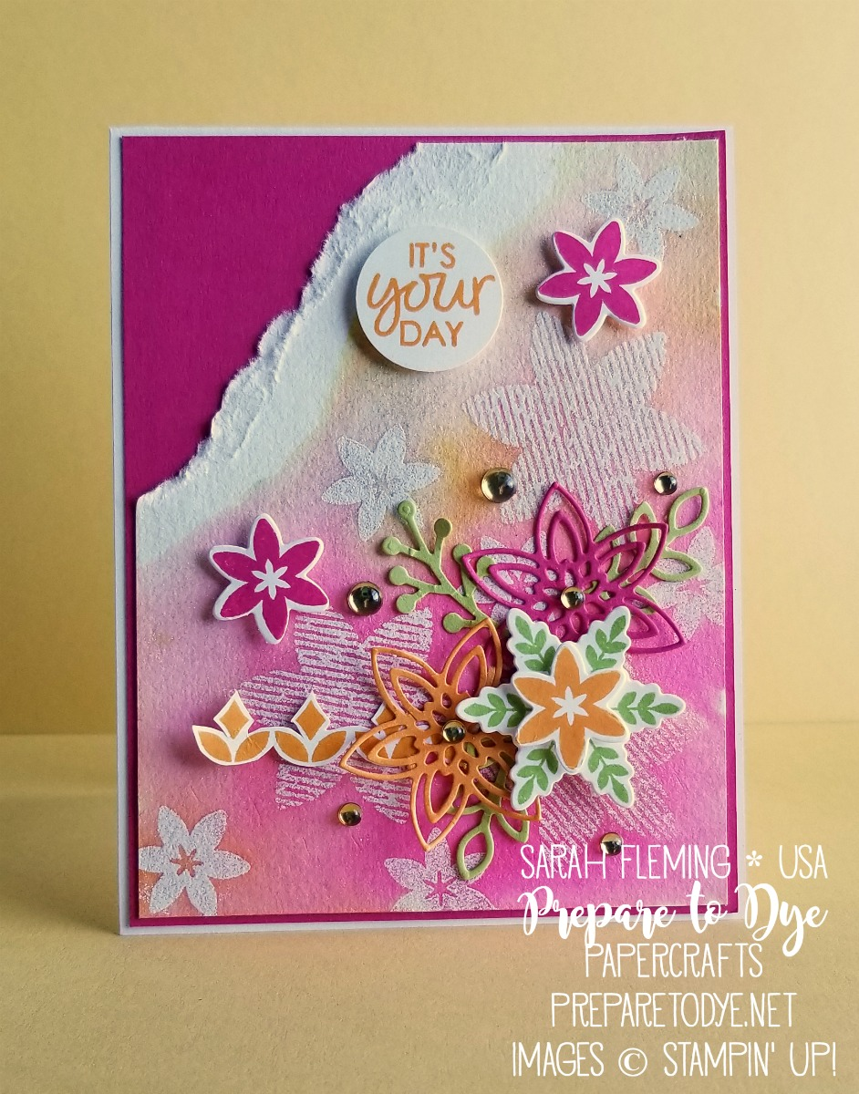 Stampin' Up! Snowflake Showcase limited time products - handmade congratulations card using Happiness Surrounds stamp set, Snowfall Thinlits dies - watercolor emboss resist - Sarah Fleming - Prepare to Dye Papercrafts