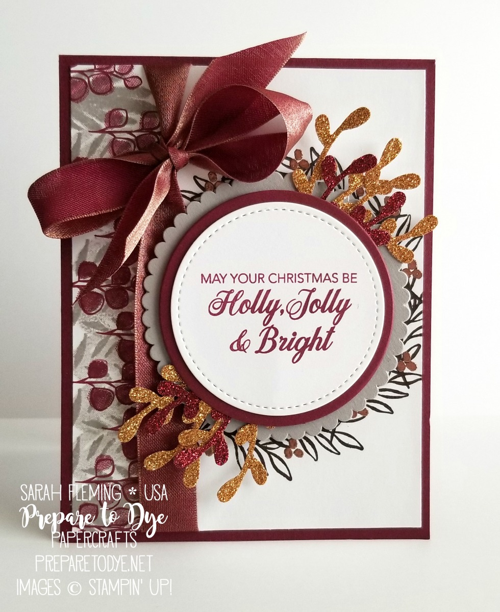 Stampin' Up! handmade Christmas holiday card using Peaceful Noel stamp set with Stitched Shapes framelits, Layering Circles framelits, Merry Merlot & Copper Reversible Ribbon - easy wreath stamping - Stamp, Ink, Paper color challenge - Sarah Fleming - Prepare to Dye Papercrafts