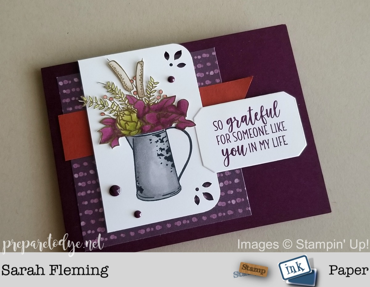 Stampin' Up! handmade thank you gratitude card using Country Home stamps, Frosted Bouquet framelits, Detailed Trio punch, Frosted Floral paper - Sarah Fleming - Prepare to Dye Papercrafts