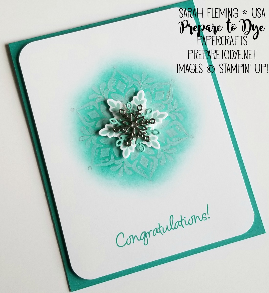 Stampin' Up! handmade congratulations card using Happiness Surrounds stamp set with Shimmer Paint Resist technique, Snowfall Thinlits -- last two days for the Snowflake Showcase limited-time products - Sarah Fleming - Prepare to Dye Papercrafts