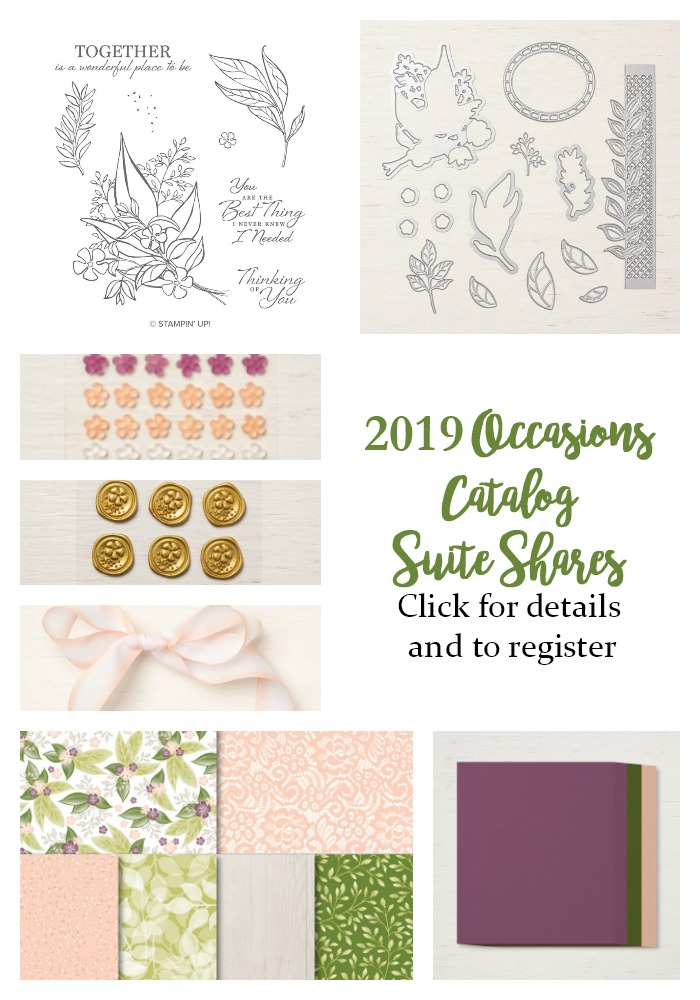 2019 Occasions Catalog Suite Shares - get half shares of all the consumables in any suite in the Occasions catalog, with options - Sarah Fleming - Prepare to Dye Papercrafts
