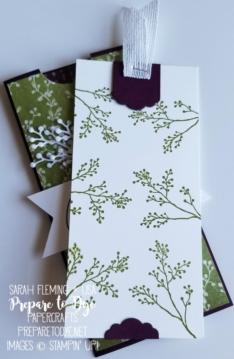 Stampin' Up! First Frost bundle with Frosted Bouquet framelits, Swirley Snowflakes thinlits, Frosted Floral designer series paper, Whisper White Flax Ribbon (coming January 3rd) - handmade Christmas holiday money holder - Sarah Fleming - Prepare to Dye Papercrafts