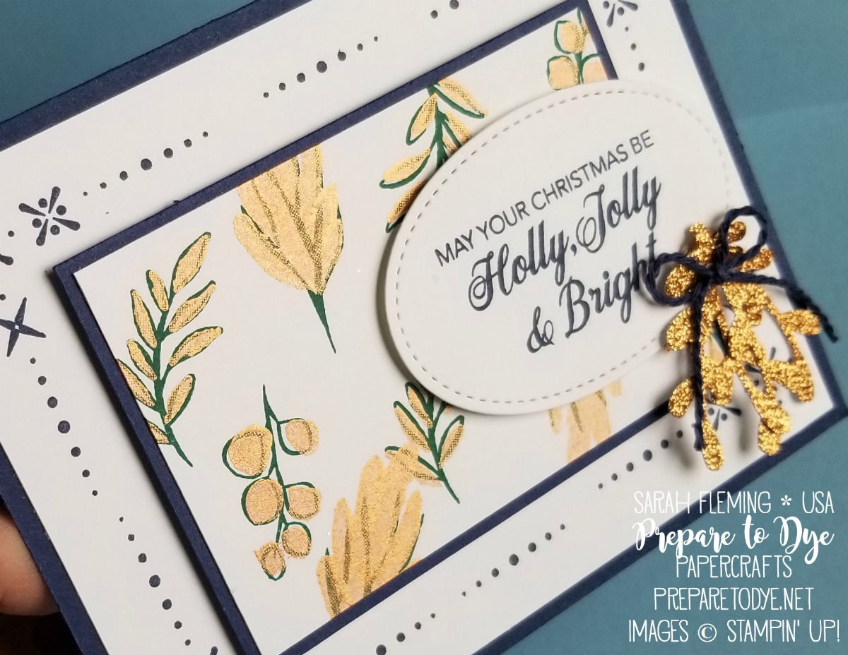 Stampin' Up! handmade Christmas holiday card using Peaceful Noel stamps, Sprig Punch, Bright Copper Shimmer Paint, Stitched Shapes Framelits - VIDEO TUTORIAL - Sarah Fleming - Prepare to Dye Papercrafts
