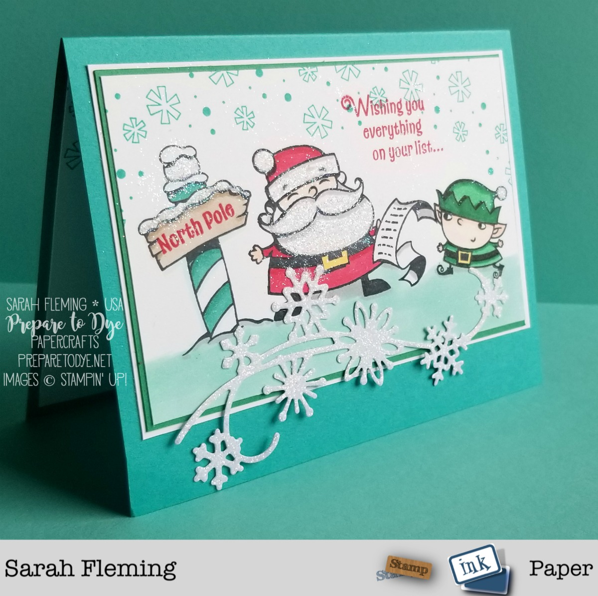 Stampin' Up! handmade holiday Christmas card using Signs of Santa stamp set with Stampin' Blends alcohol markers, Candy Cane Season stamps, and Snowfall Thinlits - Sarah Fleming - Prepare to Dye Papercrafts