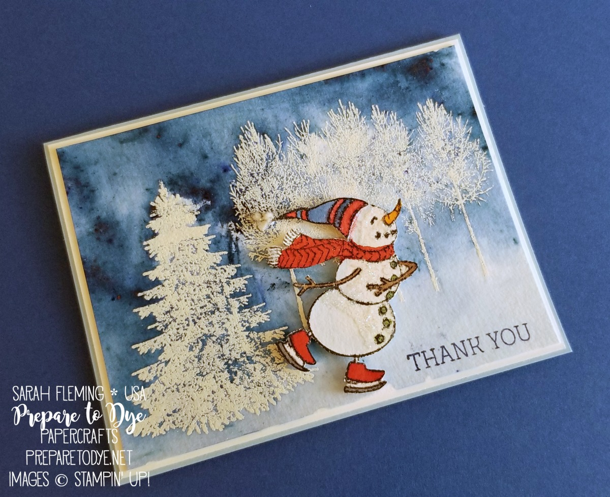 Stampin' Up! winter or Christmas thank you card with Winter Woods, Spirited Snowmen, Brusho, and watercolor emboss resist - Sarah Fleming - Prepare to Dye Papercrafts