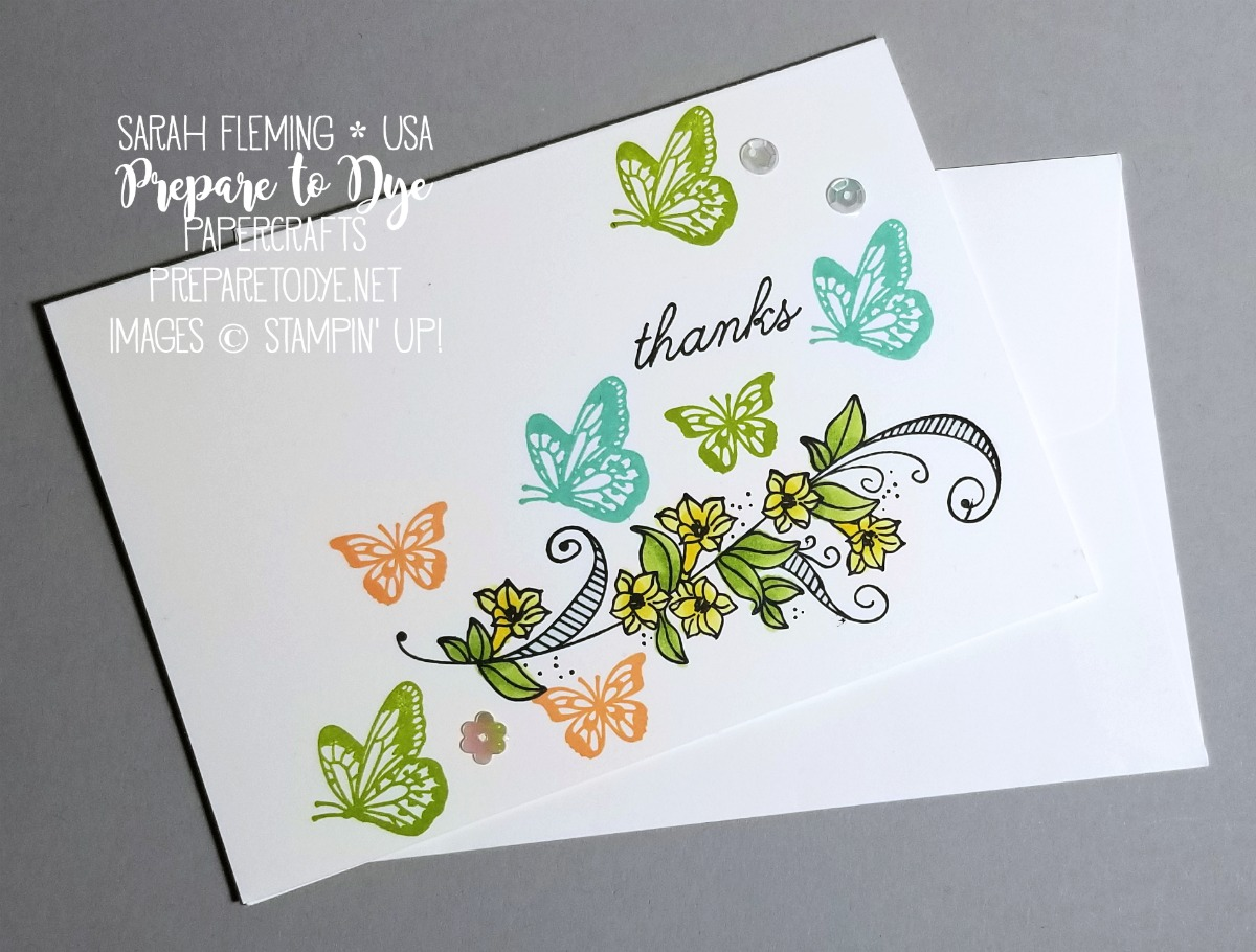 Stampin' Up! handmade thank you card using Beauty Abounds stamp set, Gingham Gala sequins, and Note Cards & Envelopes - VIDEO TUTORIAL - Sarah Fleming - Prepare to Dye Papercrafts