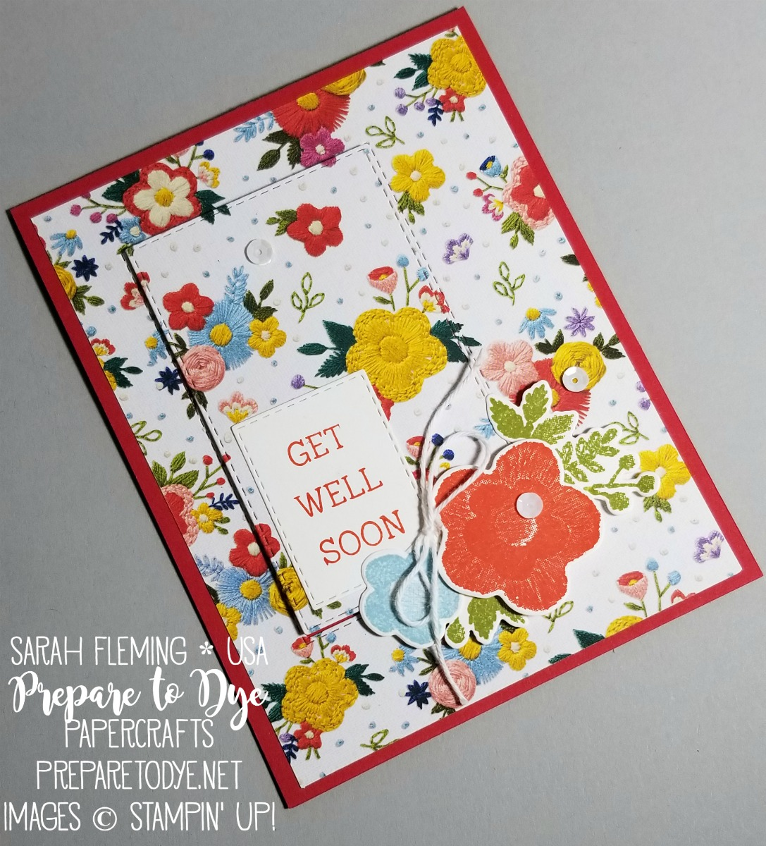 Stampin' Up! Needle & Thread bundle with Needlepoint Elements framelits, Needlepoint Nook paper, and Rectangle Stitched Framelits - handmade get well soon card with embroidery - Sarah Fleming - Prepare to Dye Papercrafts