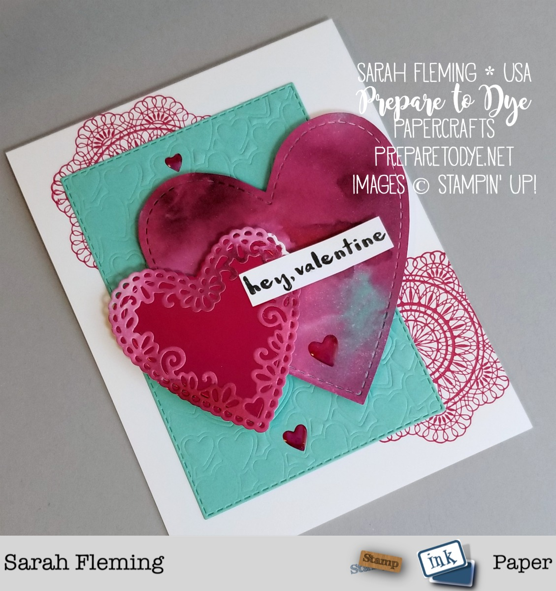 Stampin' Up! handmade Valentine's Day love card with ink smooshing technique - Dear Doily and Hey Love stamps with Rectangle Stitched framelits, Be Mine Stitched framelits, Heart Epoxy Droplets - Sarah Fleming - Prepare to Dye Papercrafts