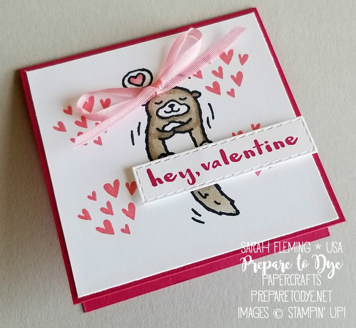 Stampin' Up! handmade Valentine's treat holder treat box and gift tag - Hey Love stamps with Little Elephant stamps, Stitched Shapes framelits, Rectangle Stitched framelits, All My Love Ribbon Combo Pack, Stampin' Blends alcohol markers - Sarah Fleming - Prepare to Dye Papercrafts