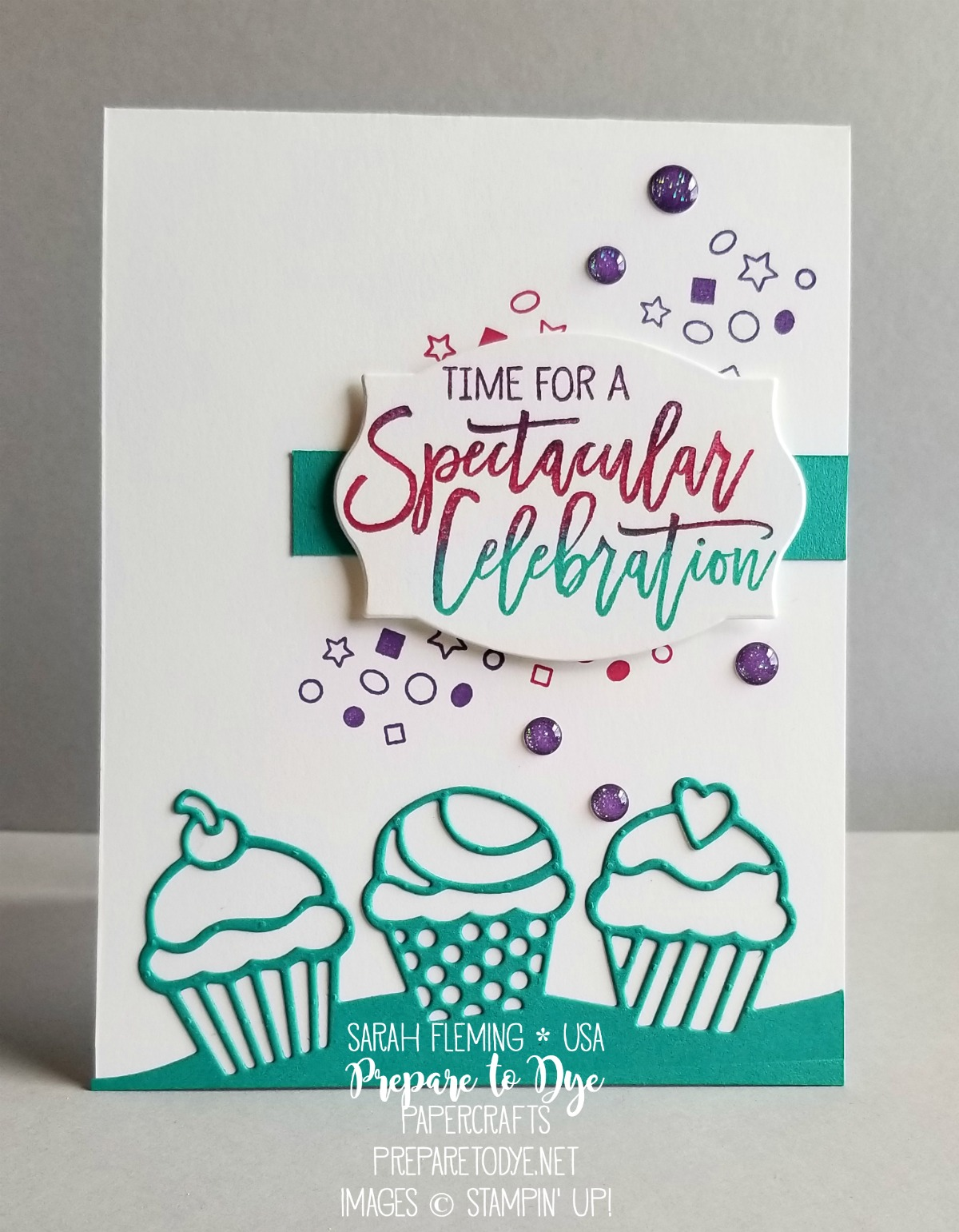 Stampin' Up! Birthday Cheer bundle with Detailed Birthday Edgelits dies and Foliage Frames framelits - handmade birthday or celebration card - cupcakes and confetti - Sarah Fleming - Prepare to Dye Papercrafts