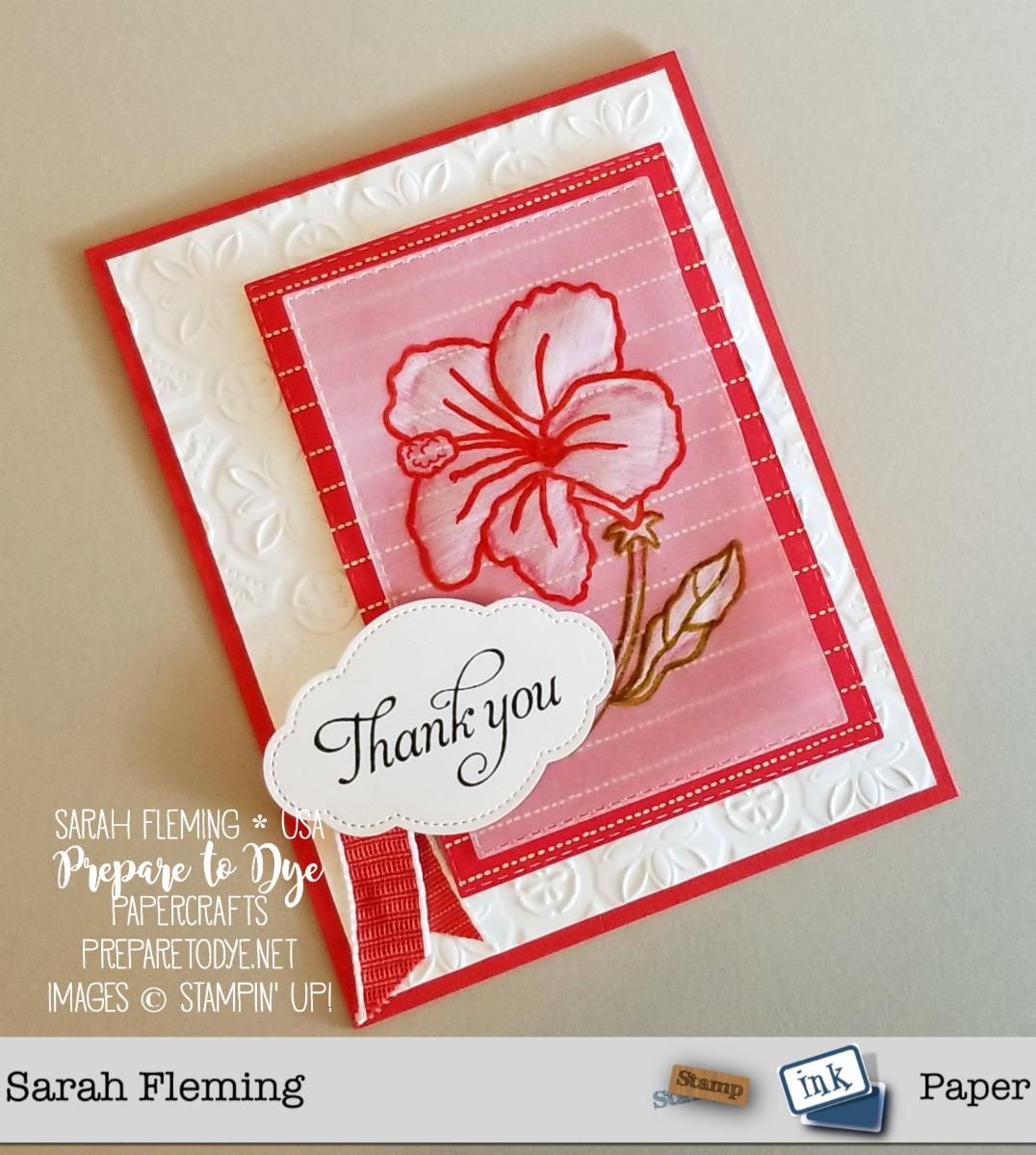 Stampin' Up! Humming Along stamps with Needlepoint Nook paper, Tin Tile embossing folder, Pretty label Punch, embossed vellum technique - Sarah Fleming - Prepare to Dye Papercrafts