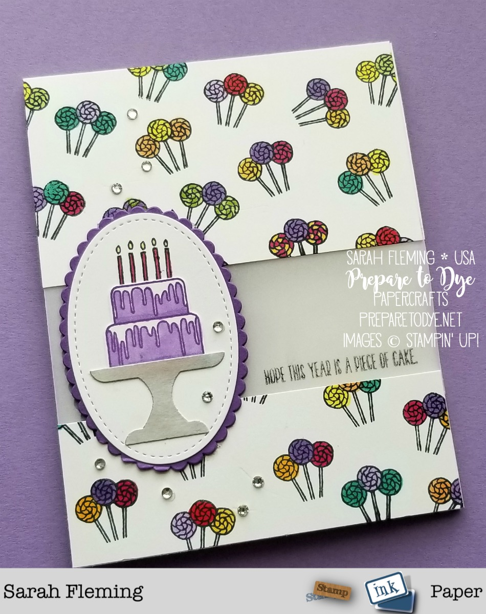 Stampin' Up! Piece of Cake bundle with Cake Builder Punch - handmade birthday card - Sarah Fleming - Prepare to Dye Papercrafts